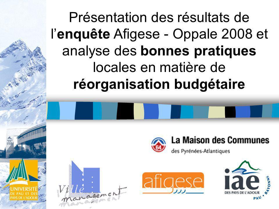 Présentation des résultats de lenquête Afigese - Oppale 2008 et analyse des bonnes pratiques locales en matière de réorganisation budgétaire