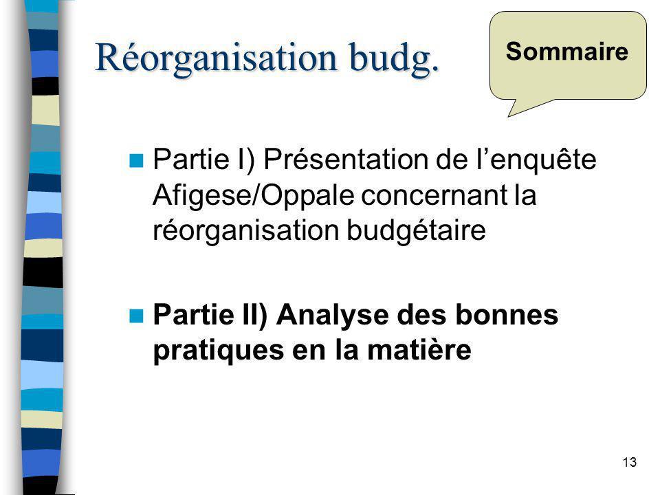 13 Sommaire Partie I) Présentation de lenquête Afigese/Oppale concernant la réorganisation budgétaire Partie II) Analyse des bonnes pratiques en la matière Réorganisation budg.