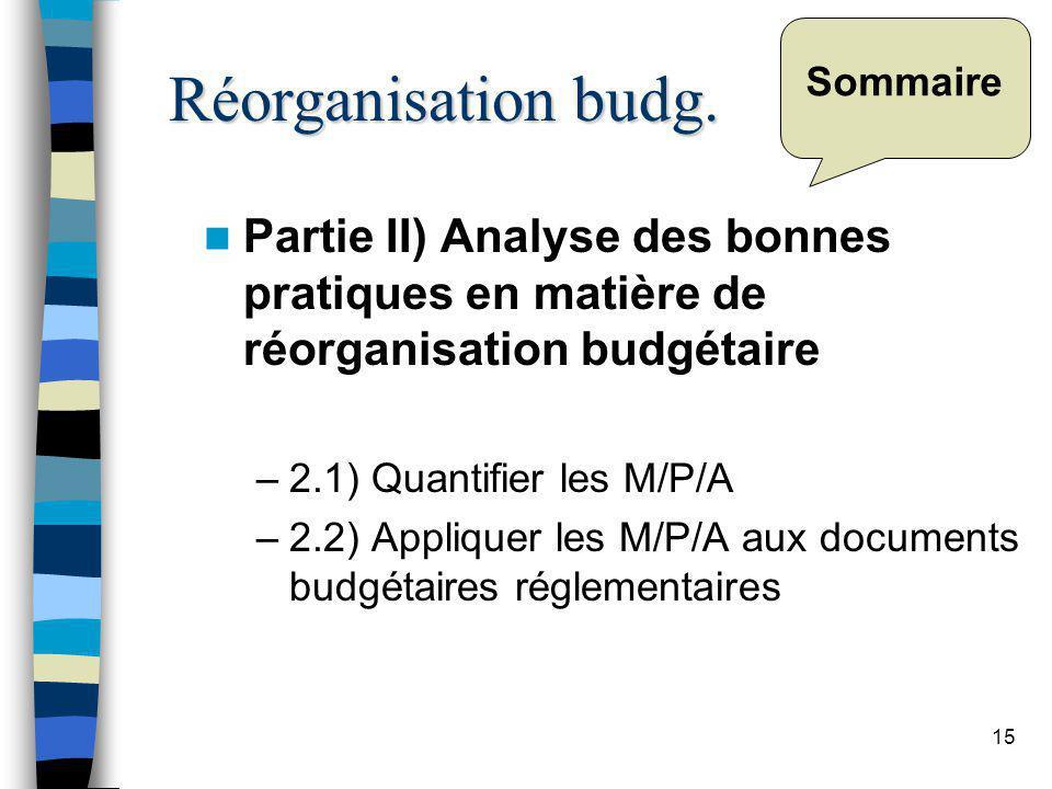 15 Sommaire Partie II) Analyse des bonnes pratiques en matière de réorganisation budgétaire –2.1) Quantifier les M/P/A –2.2) Appliquer les M/P/A aux documents budgétaires réglementaires Réorganisation budg.