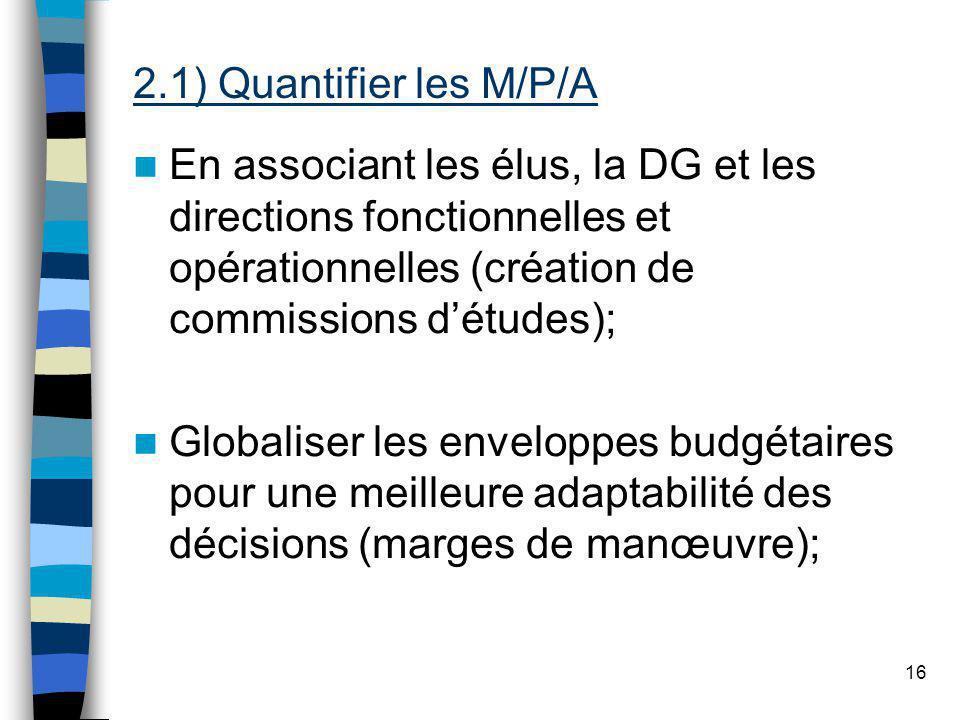 16 En associant les élus, la DG et les directions fonctionnelles et opérationnelles (création de commissions détudes); Globaliser les enveloppes budgétaires pour une meilleure adaptabilité des décisions (marges de manœuvre); 2.1) Quantifier les M/P/A