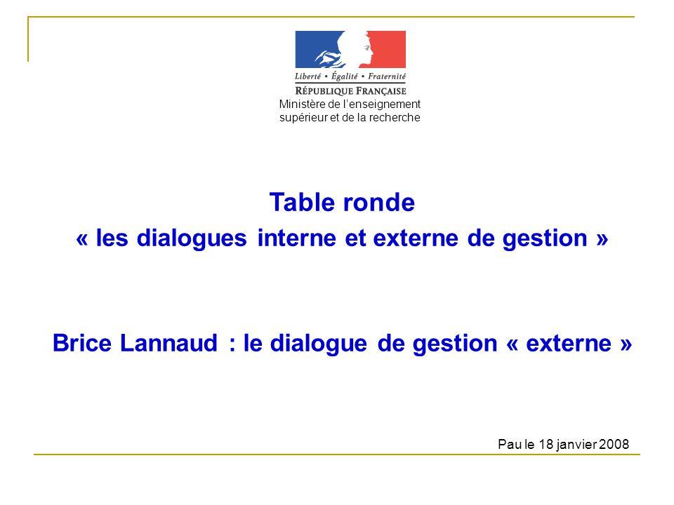 Table ronde « les dialogues interne et externe de gestion » Brice Lannaud : le dialogue de gestion « externe » Ministère de lenseignement supérieur et de la recherche Pau le 18 janvier 2008