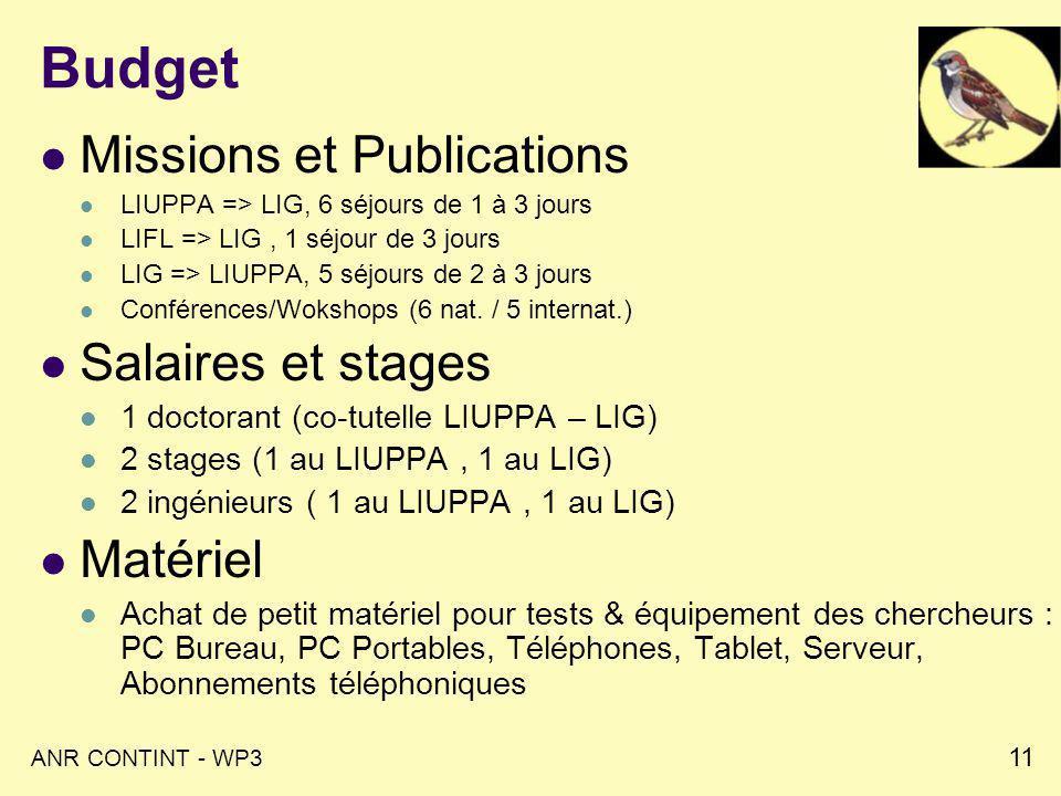 ANR CONTINT - WP3 11 Budget Missions et Publications LIUPPA => LIG, 6 séjours de 1 à 3 jours LIFL => LIG, 1 séjour de 3 jours LIG => LIUPPA, 5 séjours de 2 à 3 jours Conférences/Wokshops (6 nat.