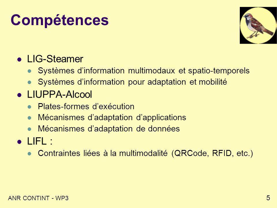 ANR CONTINT - WP3 5 Compétences LIG-Steamer Systèmes dinformation multimodaux et spatio-temporels Systèmes dinformation pour adaptation et mobilité LIUPPA-Alcool Plates-formes dexécution Mécanismes dadaptation dapplications Mécanismes dadaptation de données LIFL : Contraintes liées à la multimodalité (QRCode, RFID, etc.)