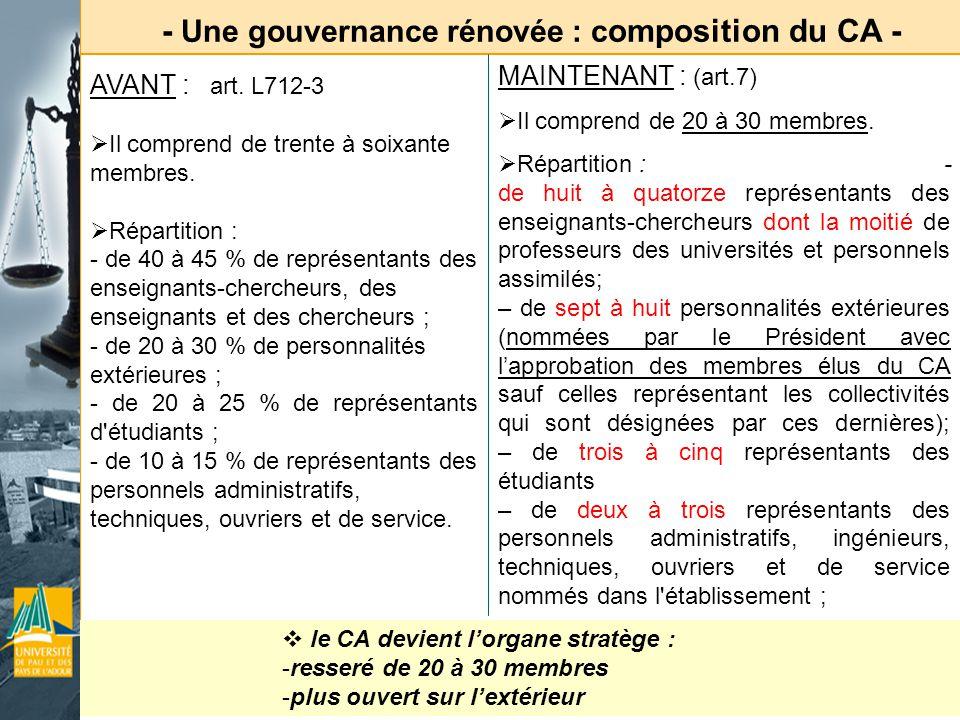 - Une gouvernance rénovée : c omposition du CA - le CA devient lorgane stratège : -resseré de 20 à 30 membres -plus ouvert sur lextérieur AVANT : art.