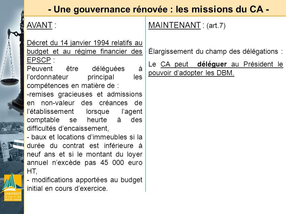 - Une gouvernance rénovée : l es missions du CA - AVANT : Décret du 14 janvier 1994 relatifs au budget et au régime financier des EPSCP : Peuvent être