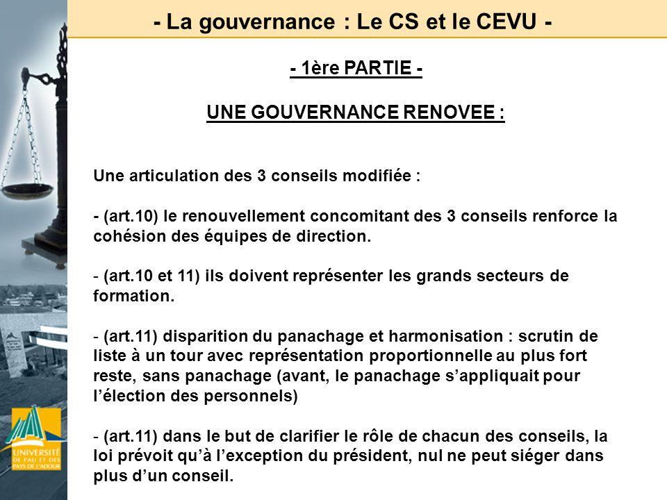 - La gouvernance : Le CS et le CEVU - - 1ère PARTIE - UNE GOUVERNANCE RENOVEE : Une articulation des 3 conseils modifiée : - (art.10) le renouvellemen