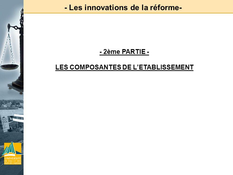 - Les innovations de la réforme- - 2ème PARTIE - LES COMPOSANTES DE LETABLISSEMENT
