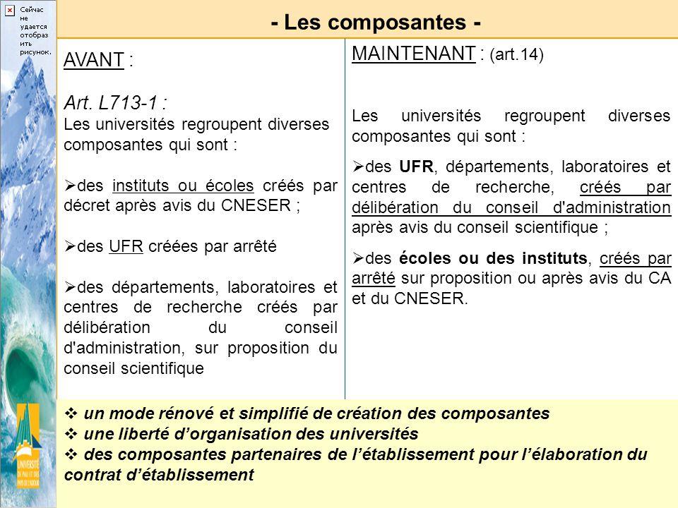 - Les composantes - AVANT : Art. L713-1 : Les universités regroupent diverses composantes qui sont : des instituts ou écoles créés par décret après av