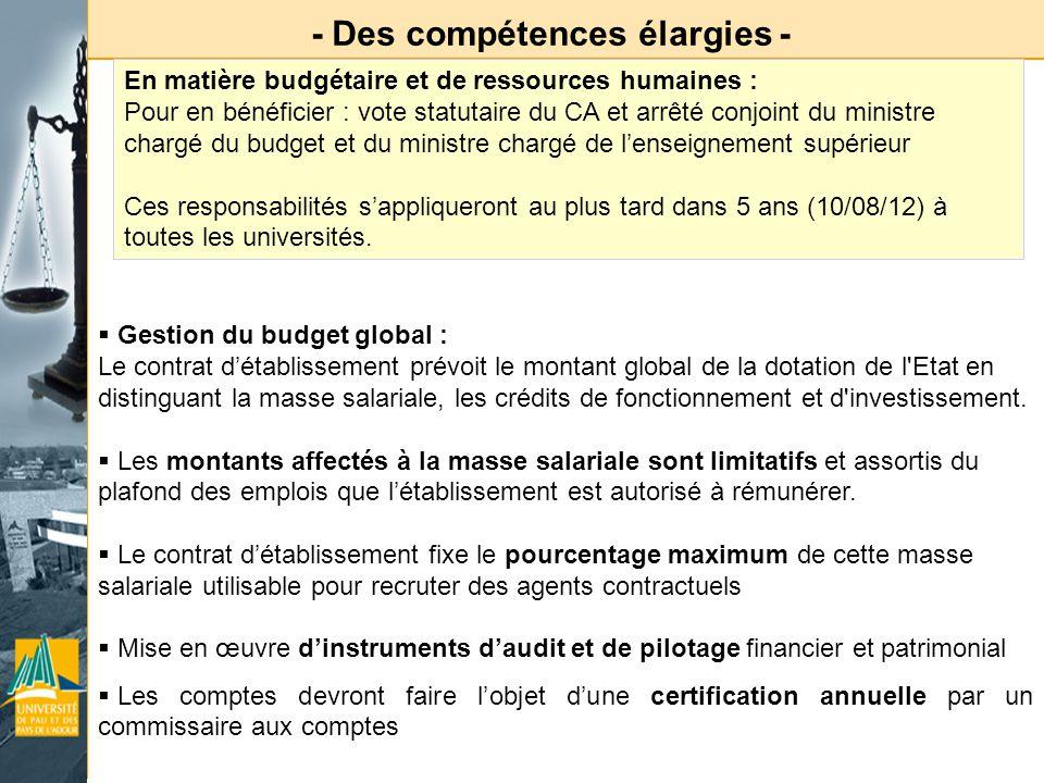 - Des compétences élargies - En matière budgétaire et de ressources humaines : Pour en bénéficier : vote statutaire du CA et arrêté conjoint du minist