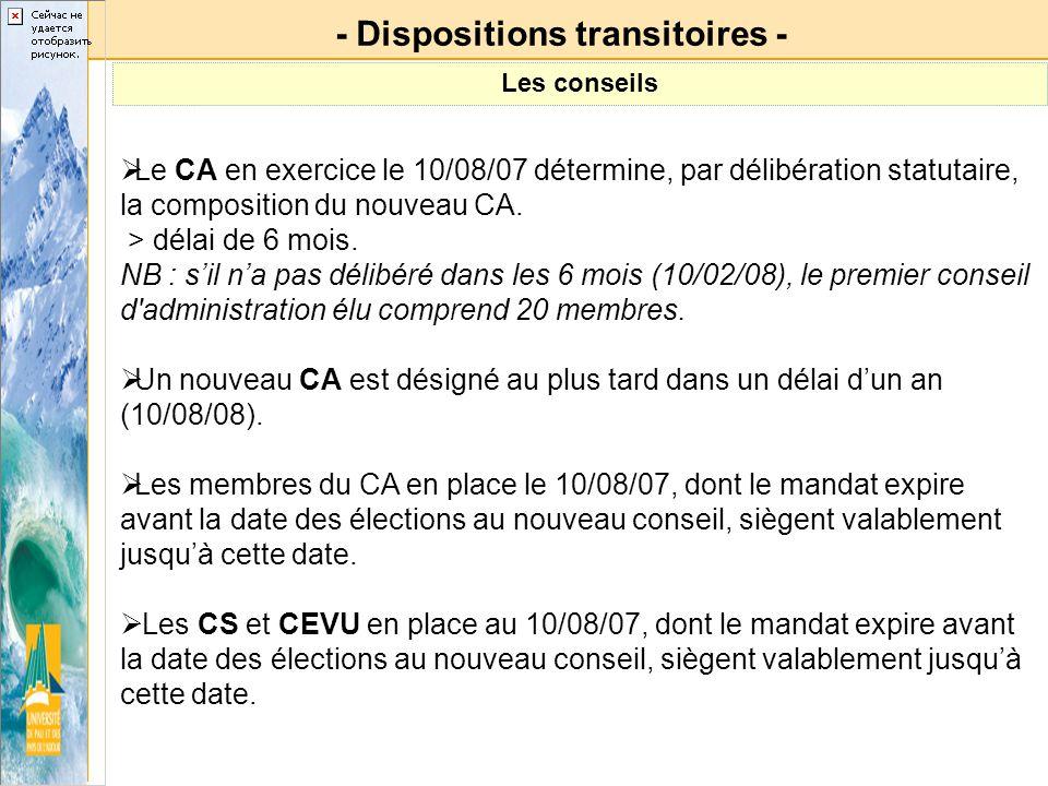 Le CA en exercice le 10/08/07 détermine, par délibération statutaire, la composition du nouveau CA. > délai de 6 mois. NB : sil na pas délibéré dans l
