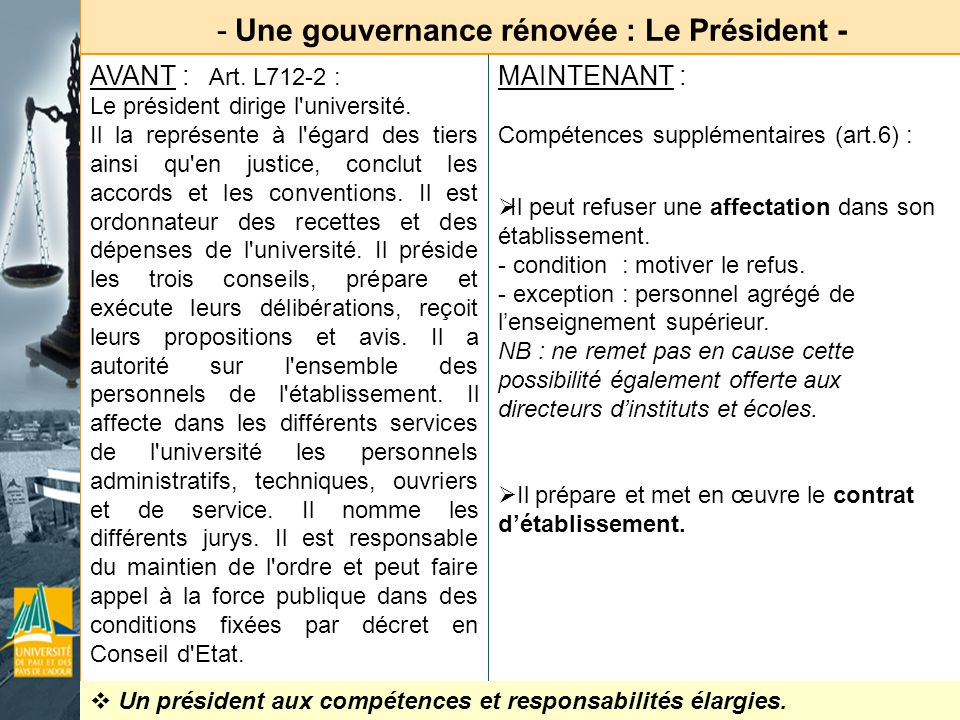 - Une gouvernance rénovée : Le Président - AVANT : Art. L712-2 : Le président dirige l'université. Il la représente à l'égard des tiers ainsi qu'en ju