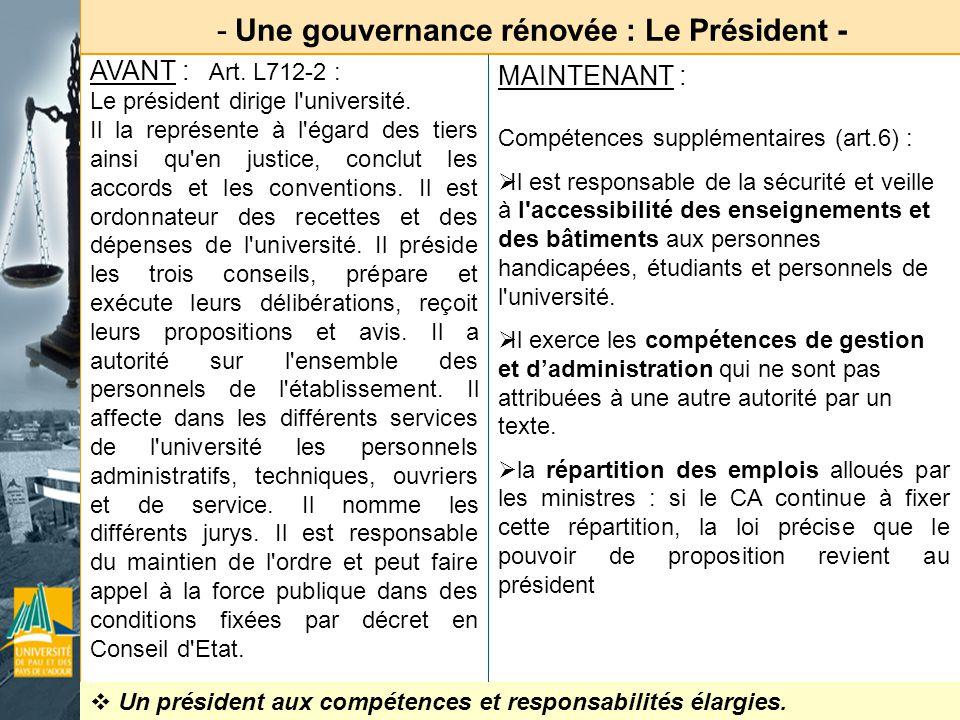 - Une gouvernance rénovée : le CEVU - AVANT : art.