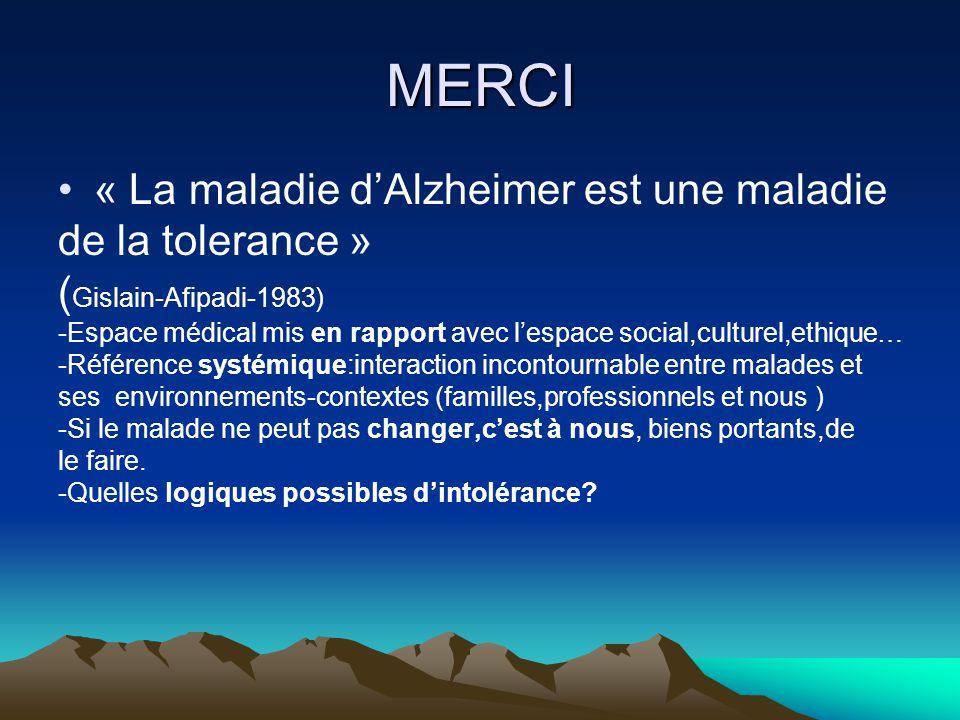 MERCI « La maladie dAlzheimer est une maladie de la tolerance » ( Gislain-Afipadi-1983) -Espace médical mis en rapport avec lespace social,culturel,et