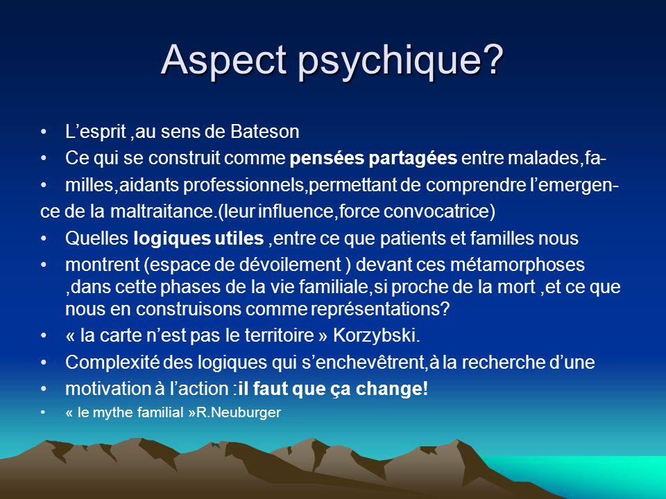 Aspect psychique? Lesprit,au sens de Bateson Ce qui se construit comme pensées partagées entre malades,fa- milles,aidants professionnels,permettant de