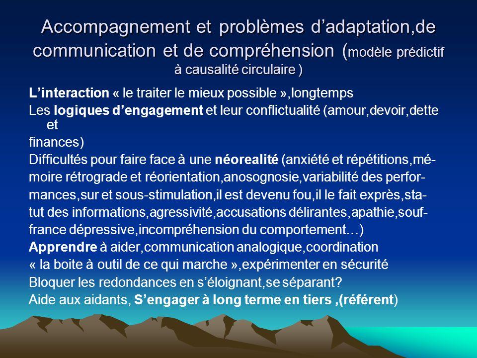 Accompagnement et problèmes dadaptation,de communication et de compréhension ( modèle prédictif à causalité circulaire ) Linteraction « le traiter le