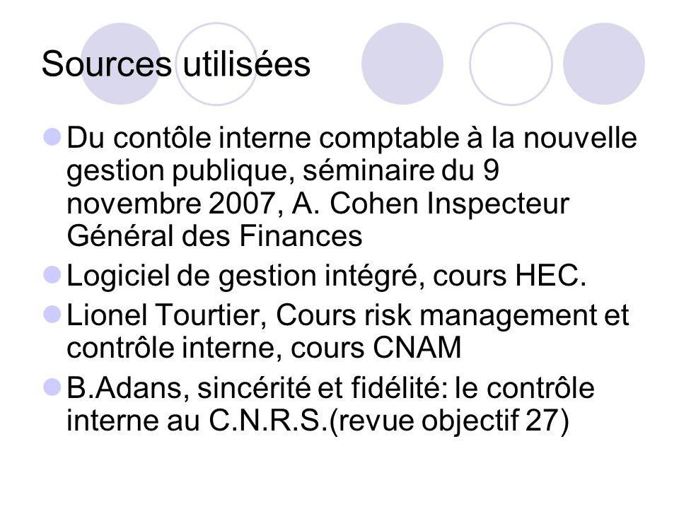 Sources utilisées Du contôle interne comptable à la nouvelle gestion publique, séminaire du 9 novembre 2007, A. Cohen Inspecteur Général des Finances