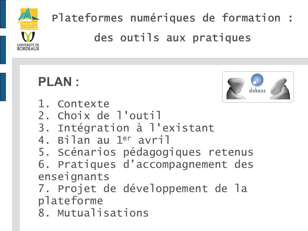 3eme jeudi du Numérique - 1er avril 2010 - Olivier Duteille - Centre de Ressources et d Appui aux TICE Université de Pau et des Pays de l Adour Plateformes numériques de formation : des outils aux pratiques PLAN : 1.