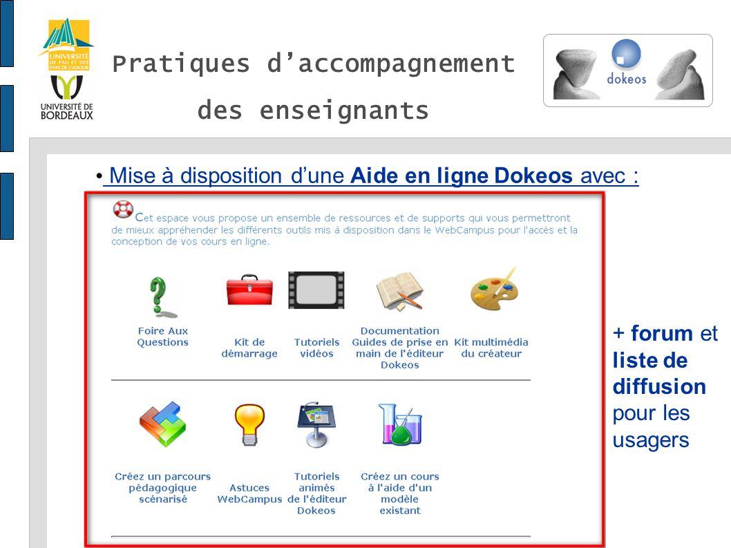 Pratiques daccompagnement des enseignants Mise à disposition dune Aide en ligne Dokeos avec : + forum et liste de diffusion pour les usagers
