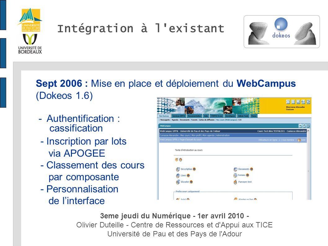 3eme jeudi du Numérique - 1er avril 2010 - Olivier Duteille - Centre de Ressources et d'Appui aux TICE Université de Pau et des Pays de l'Adour Intégr