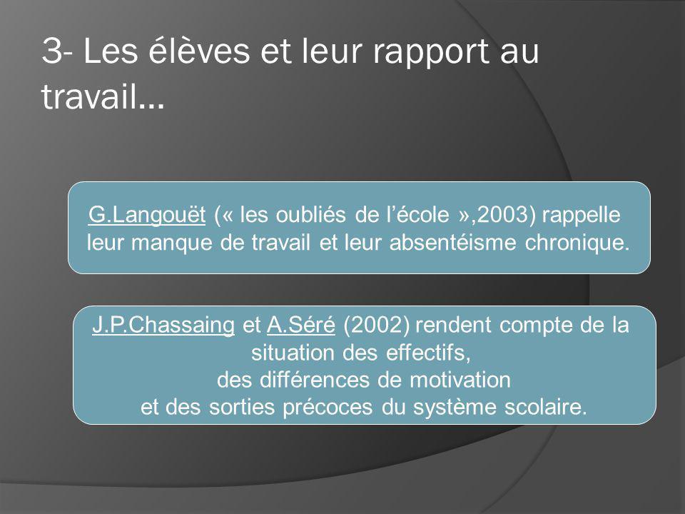 G.Langouët (« les oubliés de lécole »,2003) rappelle leur manque de travail et leur absentéisme chronique.