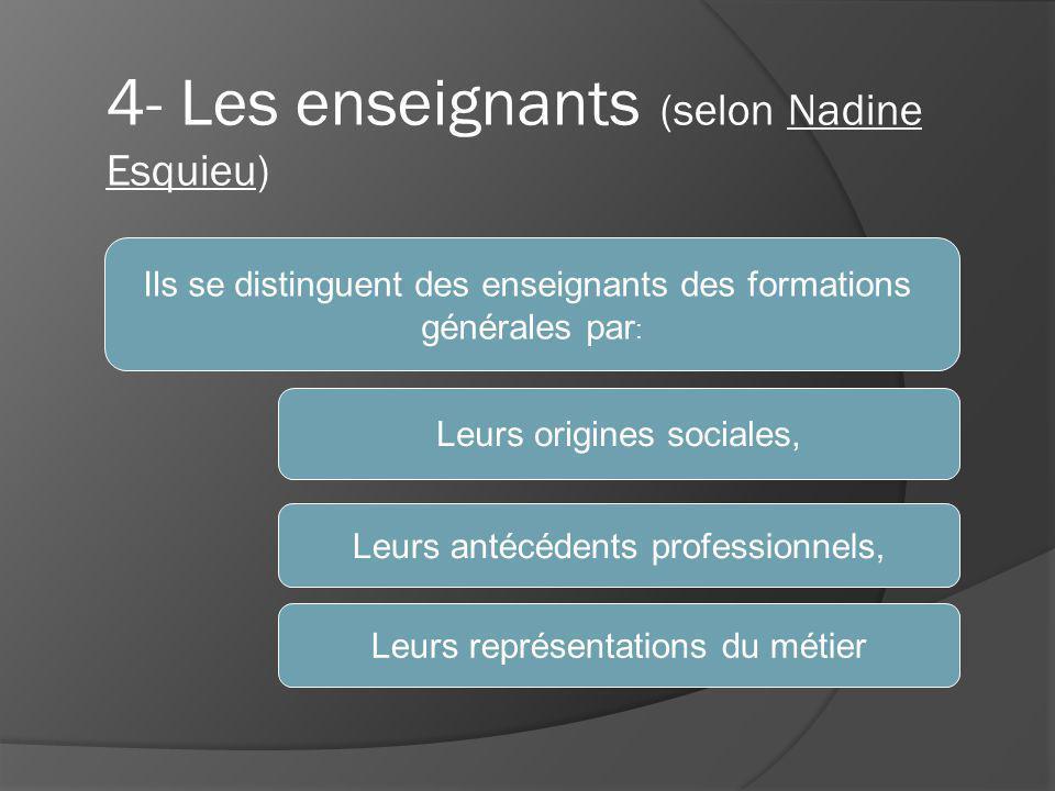 4- Les enseignants (selon Nadine Esquieu) Ils se distinguent des enseignants des formations générales par : Leurs origines sociales, Leurs antécédents professionnels, Leurs représentations du métier