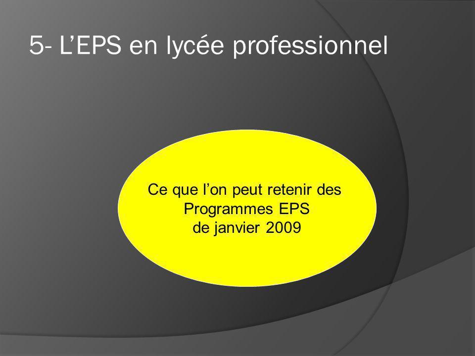 5- LEPS en lycée professionnel Ce que lon peut retenir des Programmes EPS de janvier 2009