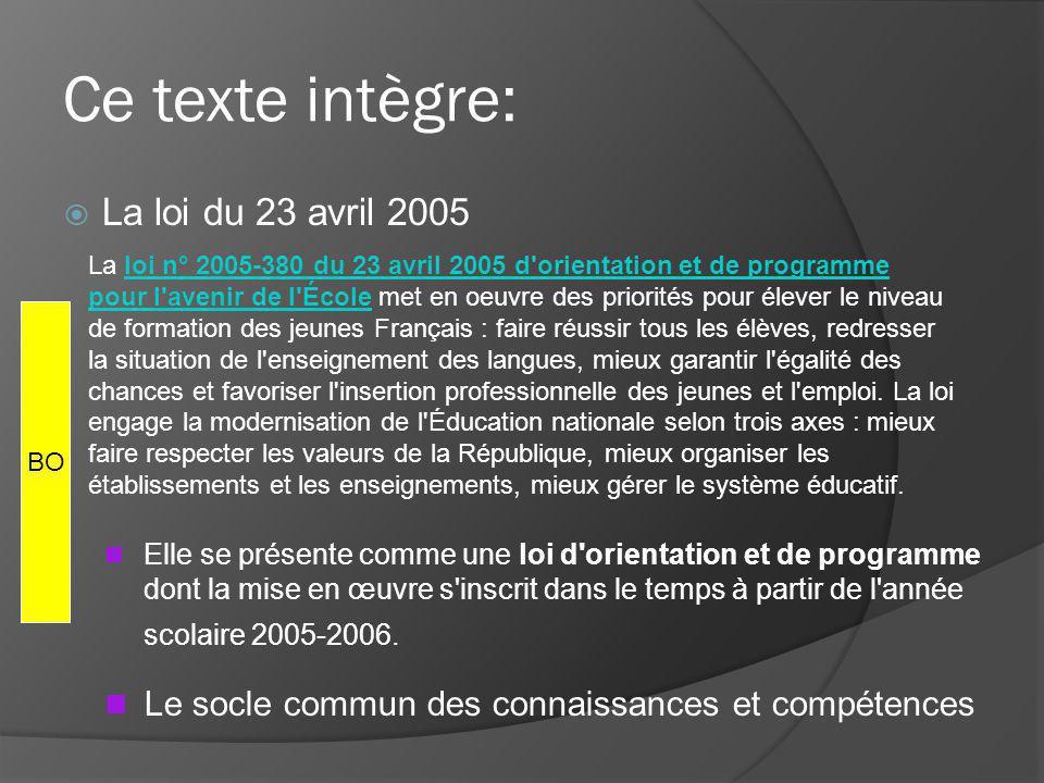 Ce texte intègre: La loi du 23 avril 2005 Elle se présente comme une loi d orientation et de programme dont la mise en œuvre s inscrit dans le temps à partir de l année scolaire 2005-2006.
