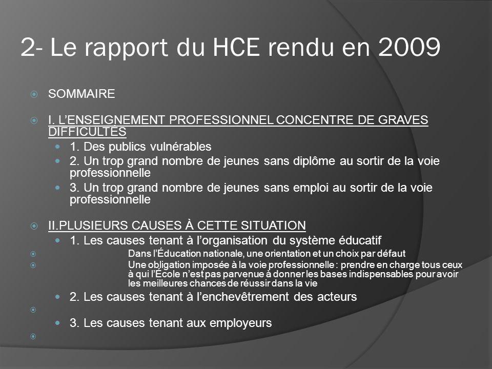 2- Le rapport du HCE rendu en 2009 SOMMAIRE I.