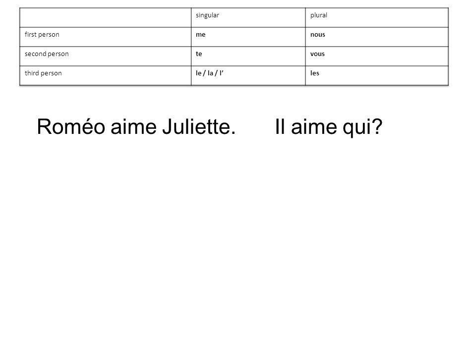 Roméo aime Juliette.Il aime qui?