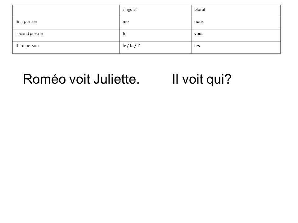 Roméo voit Juliette.Il voit qui?