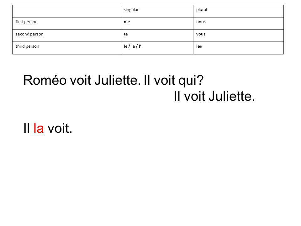 Il voit Juliette. Il la voit.