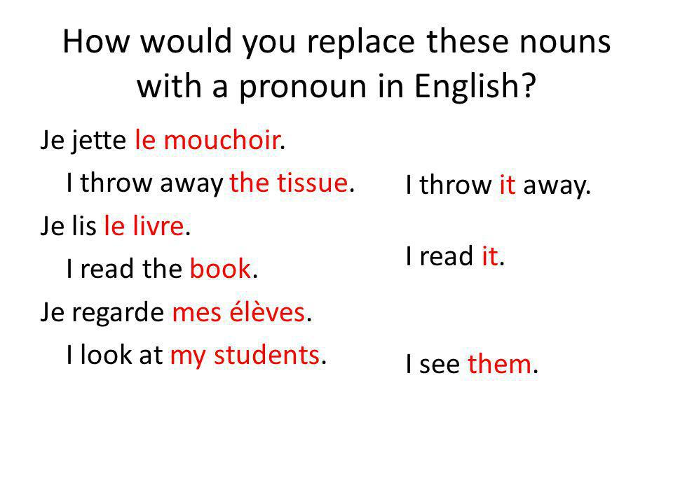 How would you replace these nouns with a pronoun in English.