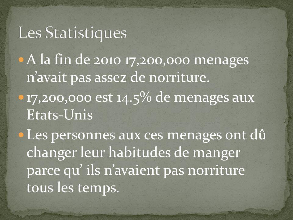 A la fin de 2010 17,200,000 menages navait pas assez de norriture.