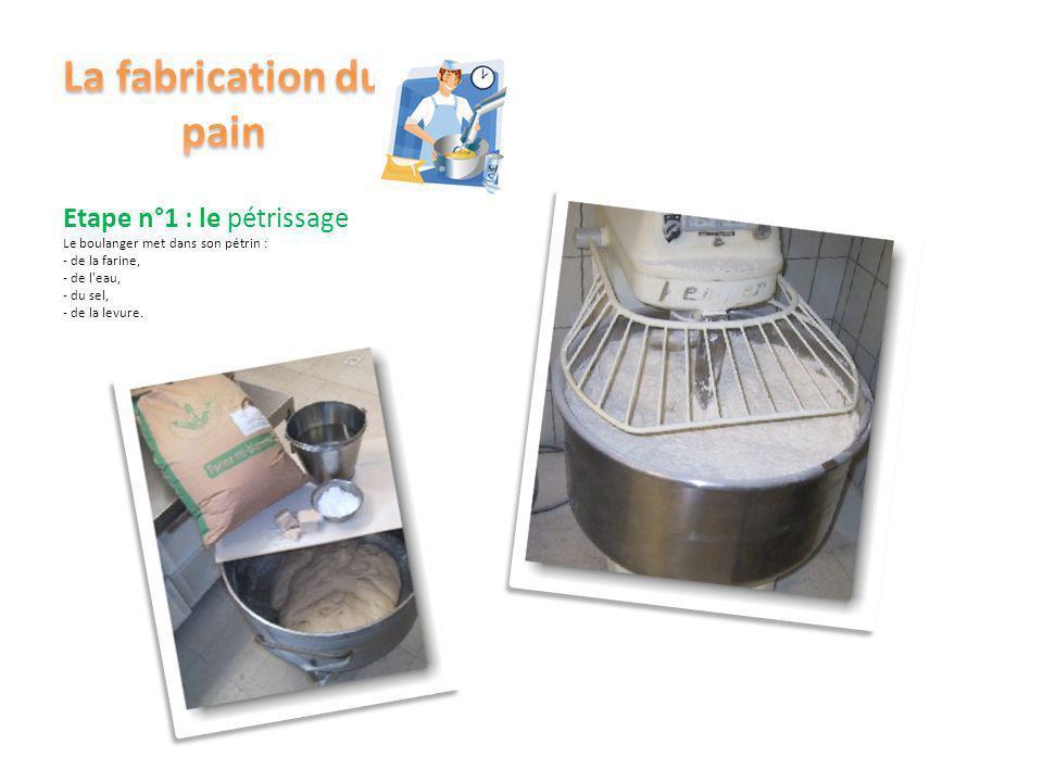 Etape n°1 : le pétrissage Le boulanger met dans son pétrin : - de la farine, - de l'eau, - du sel, - de la levure. Le pétrin tourne. C'est le pétrissa