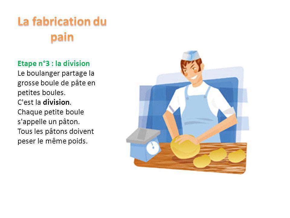 Etape n°2 : le pointage Le boulanger retire la grosse boule de pâte du pétrin. Il la dépose dans un grand bac en plastique. Le pâte se repose. Elle co