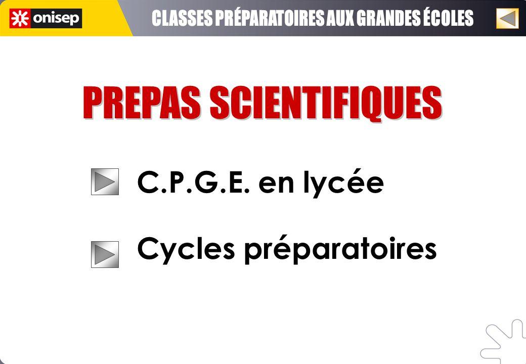 PREPAS SCIENTIFIQUES C.P.G.E. en lycée Cycles préparatoires