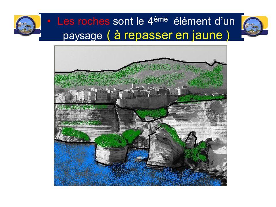 Les roches sont le 4 ème élément dun paysage ( à repasser en jaune )
