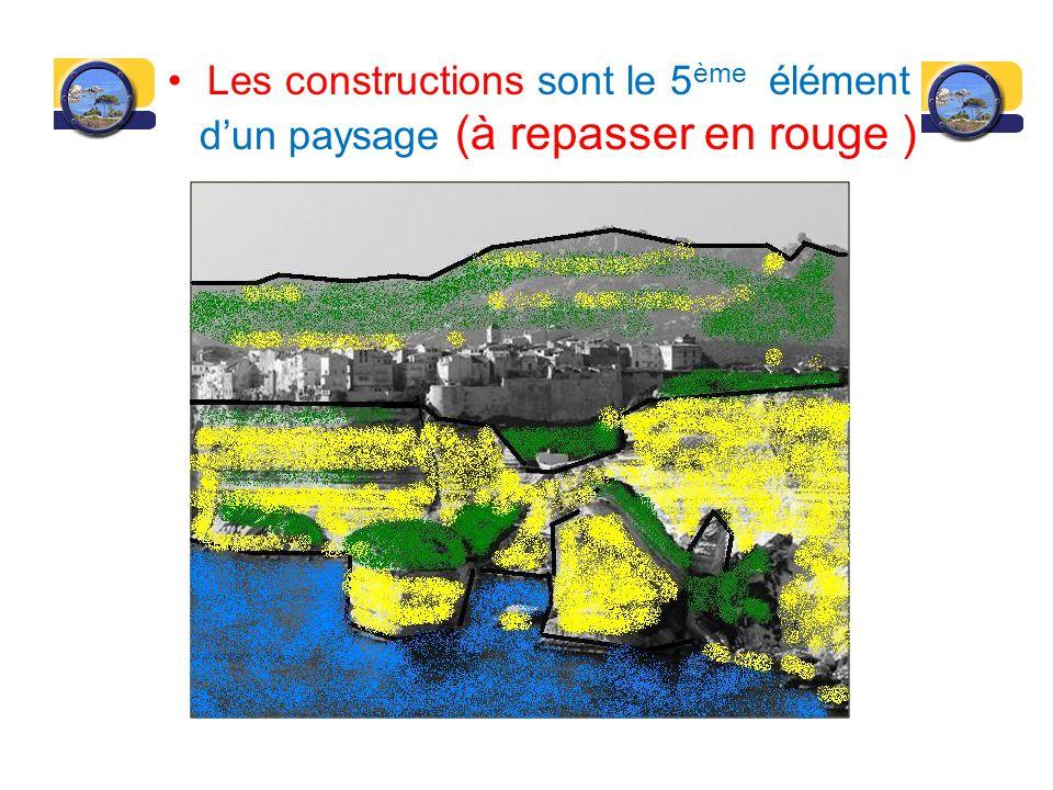 Les constructions sont le 5 ème élément dun paysage (à repasser en rouge )