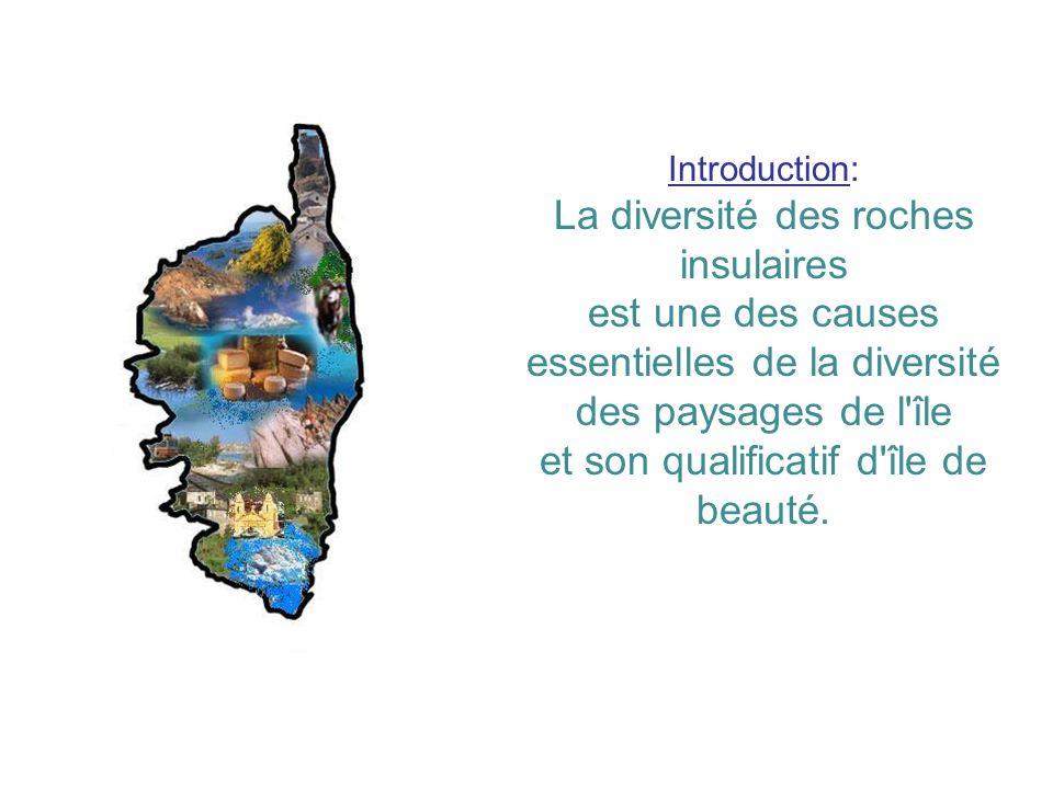 Introduction: La diversité des roches insulaires est une des causes essentielles de la diversité des paysages de l'île et son qualificatif d'île de be