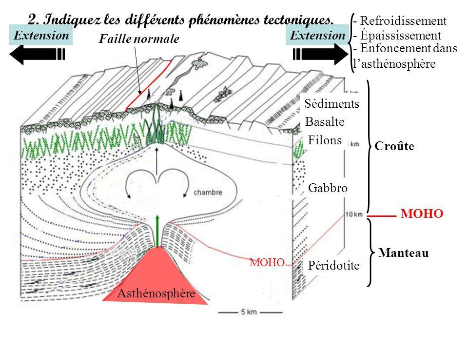 Extension 2. Indiquez les différents phénomènes tectoniques. Croûte Manteau MOHO Asthénosphère Sédiments Basalte Filons Gabbro Péridotite Extension Fa