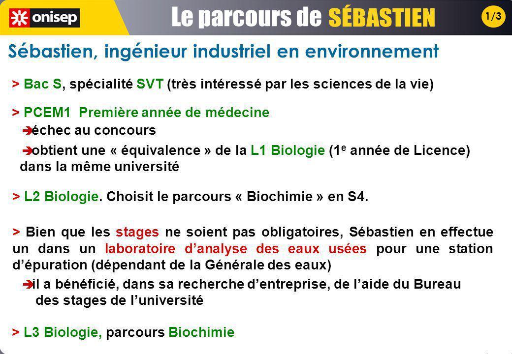 1/3 > PCEM1 Première année de médecine échec au concours obtient une « équivalence » de la L1 Biologie (1 e année de Licence) dans la même université > Bac S, spécialité SVT (très intéressé par les sciences de la vie) Sébastien, ingénieur industriel en environnement > L2 Biologie.