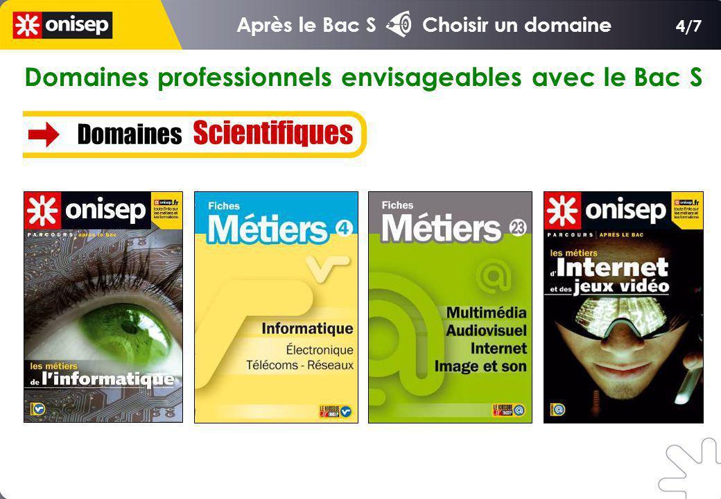 Domaines professionnels envisageables avec le Bac S Domaines Scientifiques 4/7 Après le Bac S Choisir un domaine