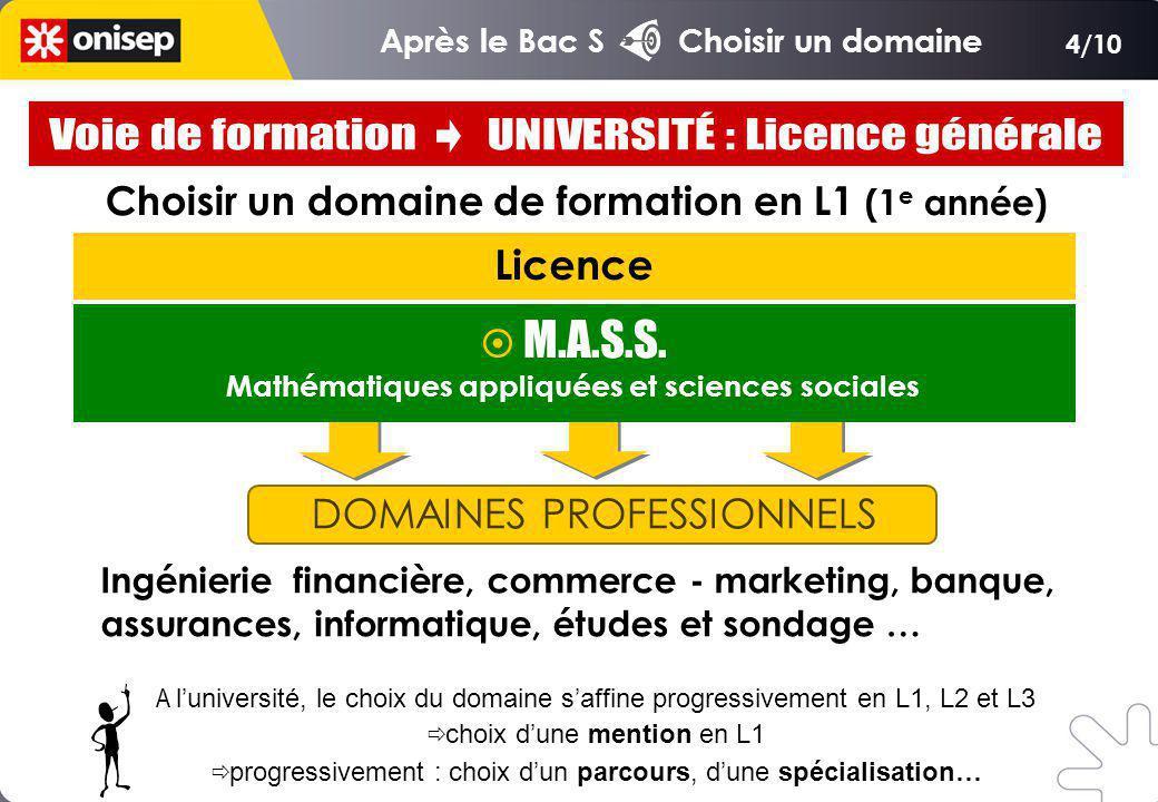 Choisir un domaine de formation en L1 (1 e année) Licence DOMAINES PROFESSIONNELS Ingénierie financière, commerce - marketing, banque, assurances, informatique, études et sondage … M.A.S.S.