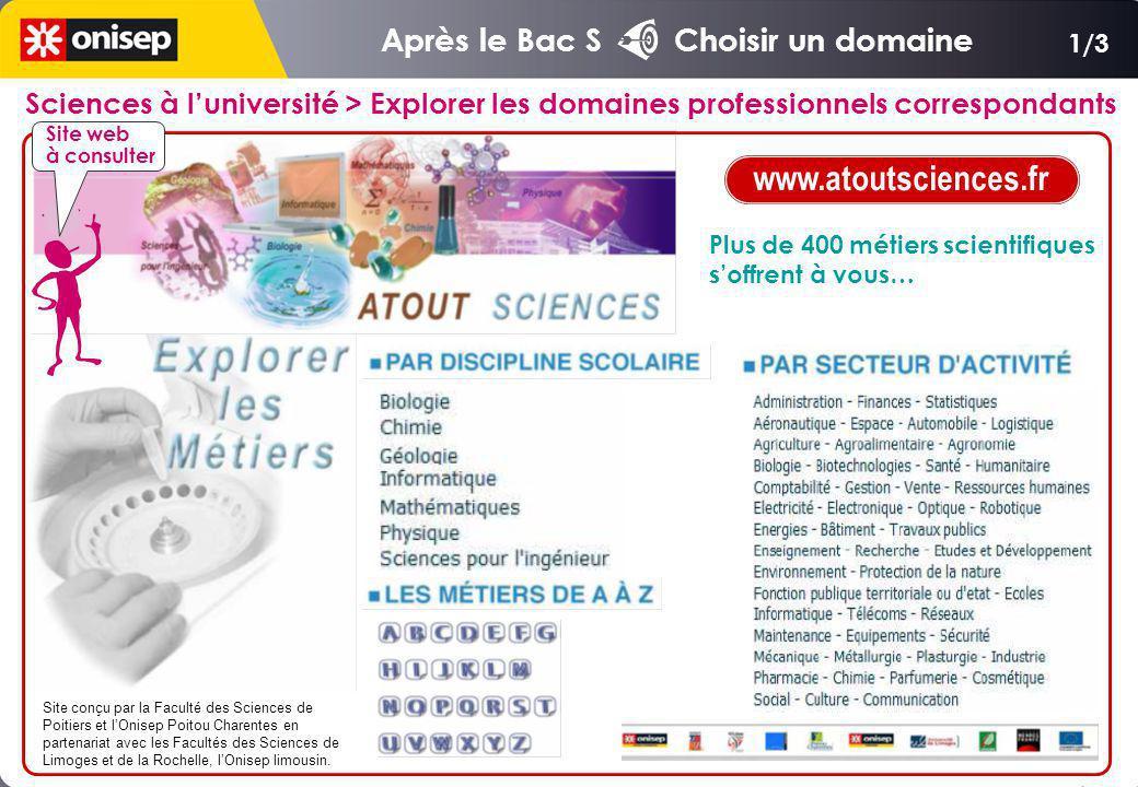 1/3 Sciences à luniversité > Explorer les domaines professionnels correspondants Site conçu par la Faculté des Sciences de Poitiers et lOnisep Poitou Charentes en partenariat avec les Facultés des Sciences de Limoges et de la Rochelle, lOnisep limousin.