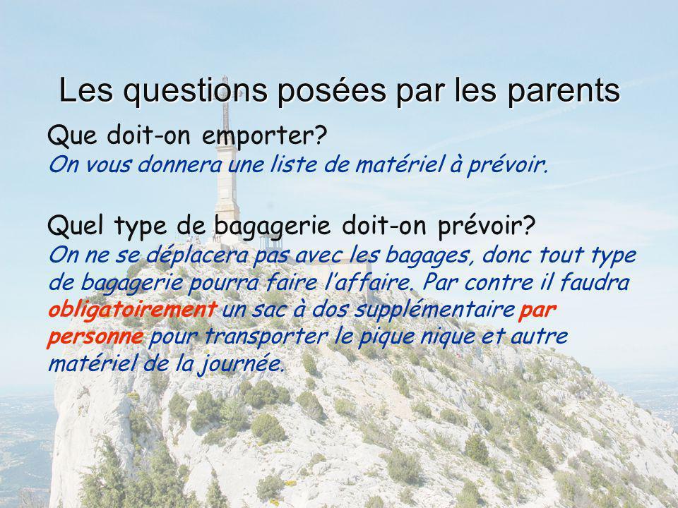 Les questions posées par les parents Que doit-on emporter? On vous donnera une liste de matériel à prévoir. Quel type de bagagerie doit-on prévoir? On