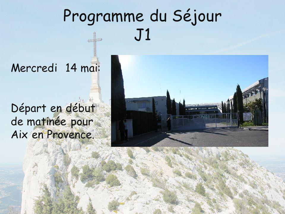 Programme du voyage J1 Visite des différentes salle du Musée Granet, sur le thème de Cézanne.