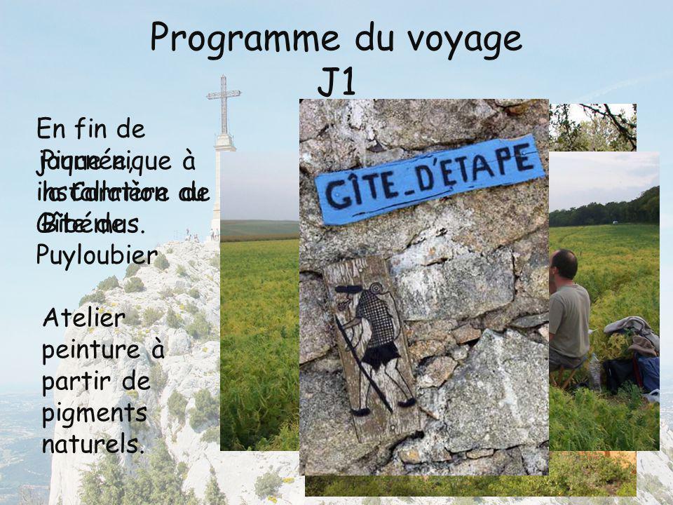 Programme du voyage J1 Pique nique à la Carrière de Bibémus. Atelier peinture à partir de pigments naturels. En fin de journée, installation au Gîte d