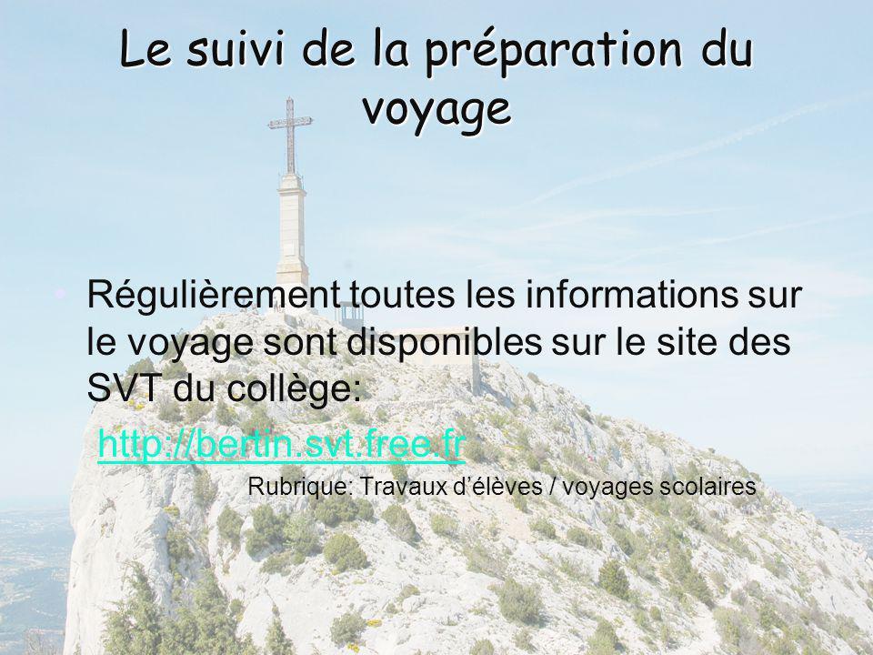 Le suivi de la préparation du voyage Régulièrement toutes les informations sur le voyage sont disponibles sur le site des SVT du collège: http://berti