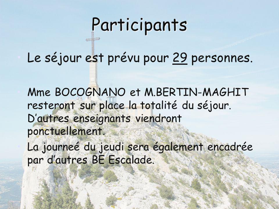 Participants Le séjour est prévu pour 29 personnes. Mme BOCOGNANO et M.BERTIN-MAGHIT resteront sur place la totalité du séjour. Dautres enseignants vi