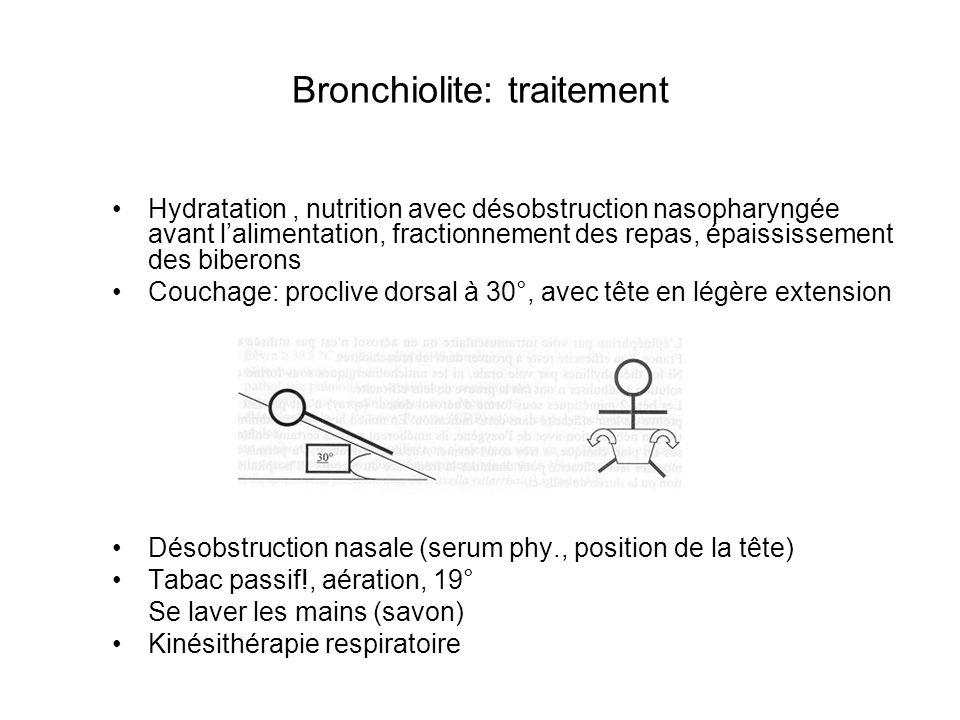 Bronchiolite: traitement Hydratation, nutrition avec désobstruction nasopharyngée avant lalimentation, fractionnement des repas, épaississement des bi